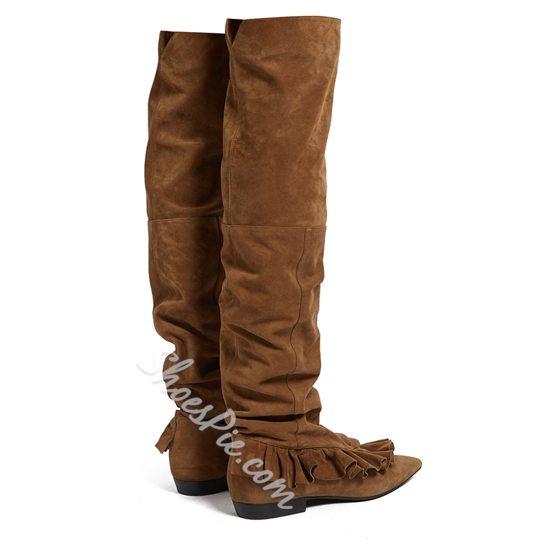 Shoespie Pointed Toe Slip-On Block Heel Knee High Boot