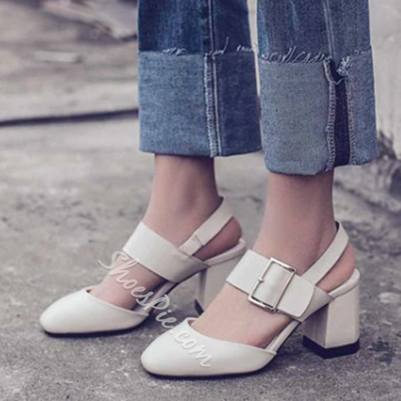 Shoespie Closed Toe BuckleStrappy Low-Cut Upper Chunky Heel Dress Sandals