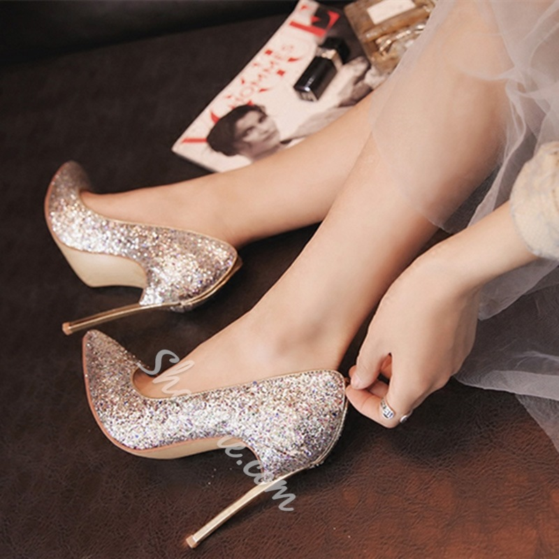 Shoespie Pointed Toe Slip-On Banquet Stiletto Heel