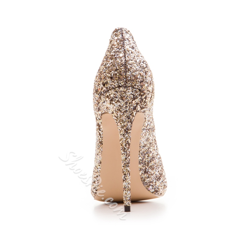 Shoespie Pointed Sequin Toe Banquet Stiletto Heels