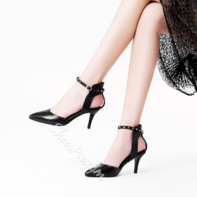 Shoespie Ankle Strap Line-Style Buckle Rivet Stiletto Heel