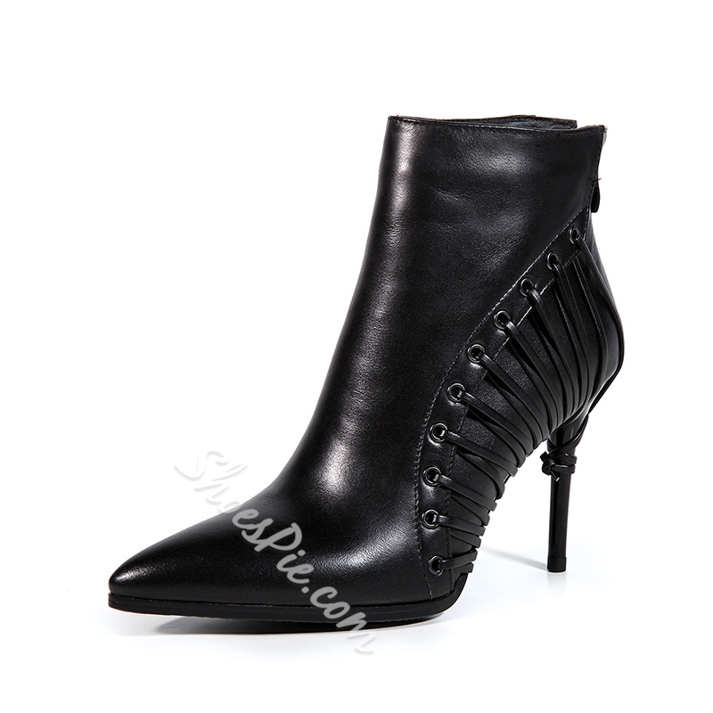 Shoespie Back Zip Stiletto Heel Ankle Boots