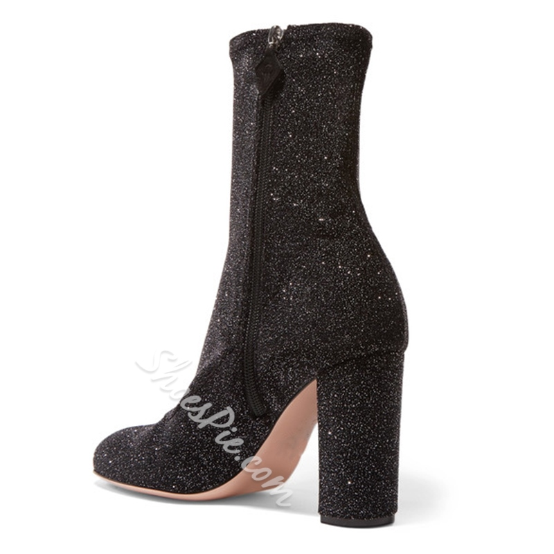 Shoespie Fashiion Sequin Chunky Heel Ankle Boots
