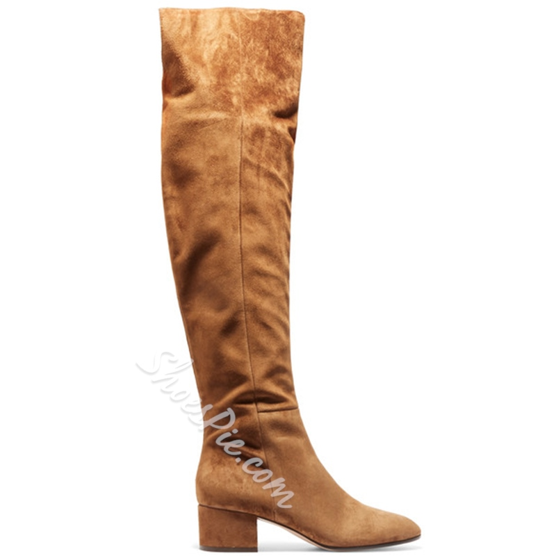 Shoespie Side Zipper Chunky Heel Knee High Boots