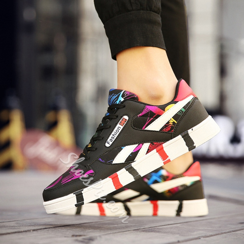 Shoespie Casual Mesh Color Block Lace-Up Sneaker
