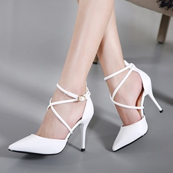 Shoespie Cross Strap Pointed Toe Buckle Stiletto Heel