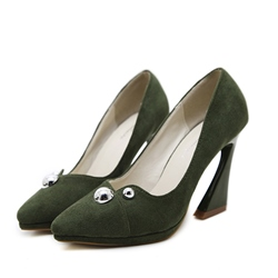 Shoespie Pointed Toe Rivet Slip-On Horse-Shoe Heel
