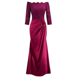 Slash Neck Lace Floor-Length Evening Dresses