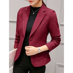 One Button Notched Lapel Plain Fall Women's Casual Blazer
