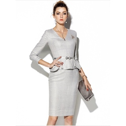 Shoespie V-Neck Falbala Long Sleeve Formal Bodycon Dress