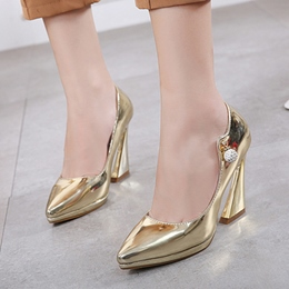 Shoespie Pointed Toe Rhinestone Horse-Shoe Heel