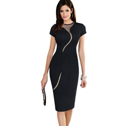 Shoespie Round Neck Mesh Knee-Length Bodycon Dress