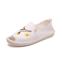 Shoespie Embroidery Slip-On Floral Platform Loafer