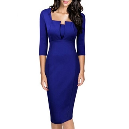 Shoespie Square Neck Three-Quarter Sleeve Bodycon Dress