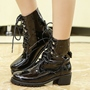 ShoespieCasual Lace-Up Front Block Heel Martin Boots