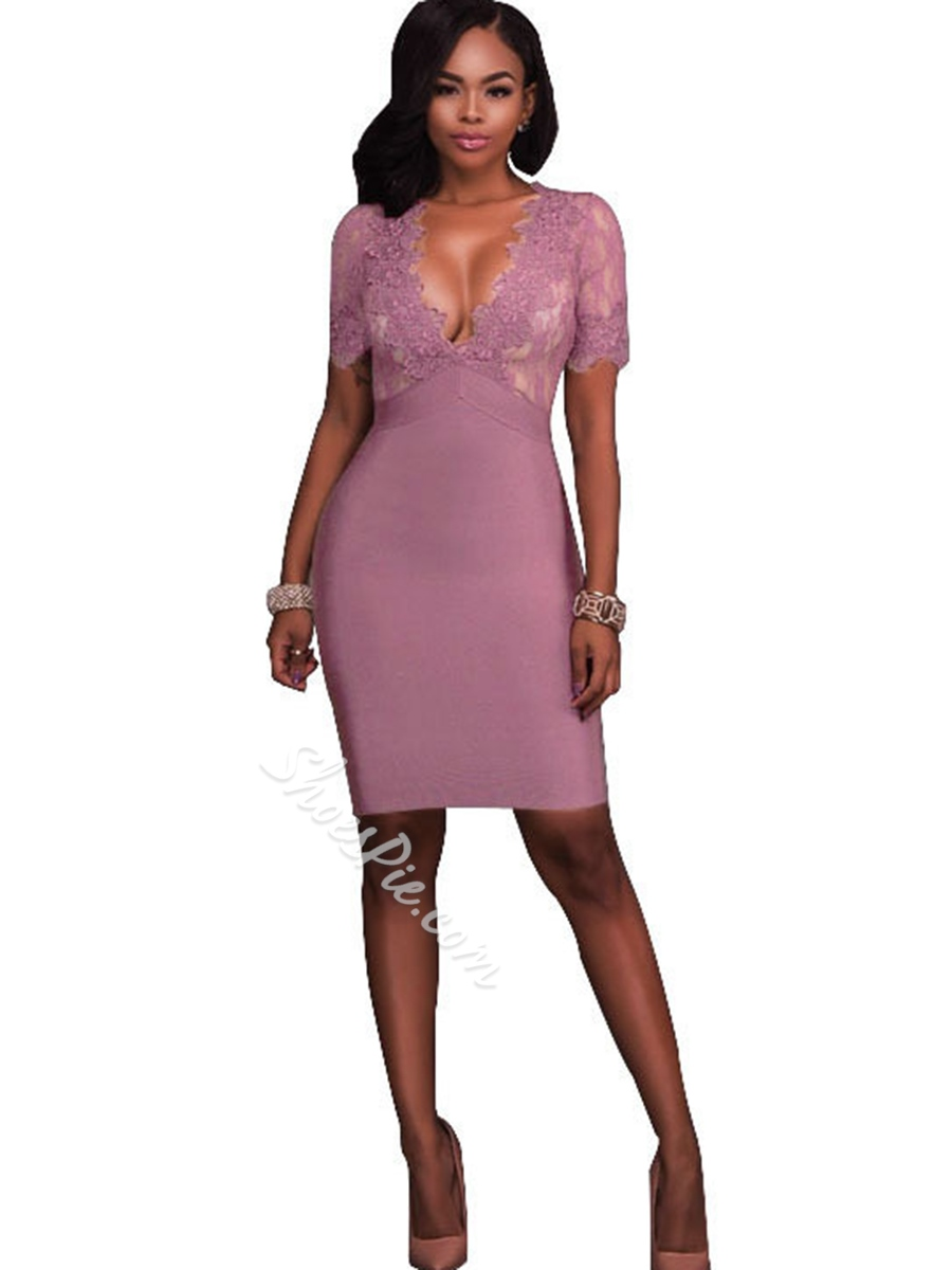 Shoespie Hollow Lace V-Neck Bodycon Dress