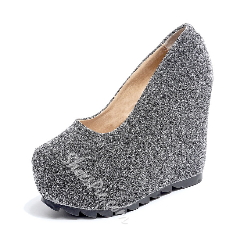 Shoespie Slip-On Platform Wedge Heels
