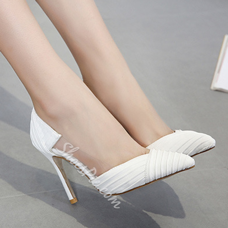 Shoespie Patchwork Plain Pointed Toe Slip-On Stiletto Heel