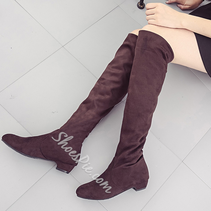 Shoespie Short Floss Slip-On Chunky Heel Knee High Boots