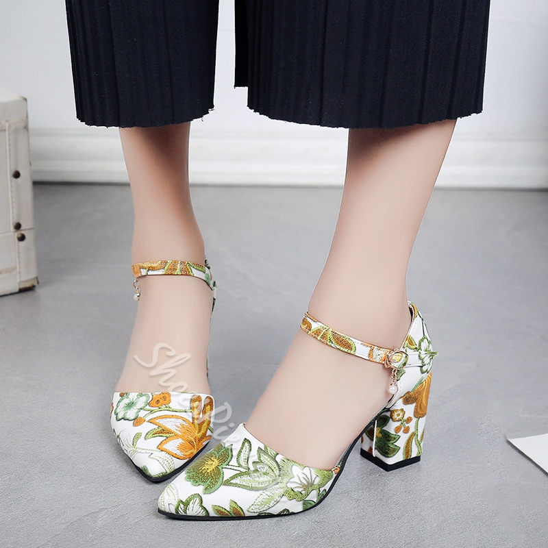 Shoespie Pointed Toe EmbroideryLine-Style Buckle Floral Chunky Heel