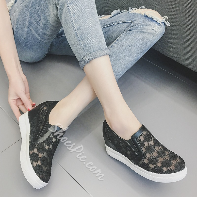 Shoespie Slip-On Hidden Elevator Heel Platform Mesh Sneaker
