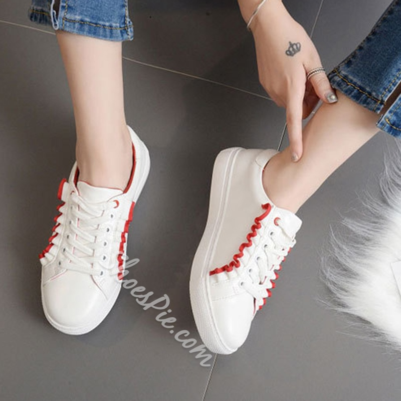 Shoespie Casual Ruffles Color Block Canvas Sneakers