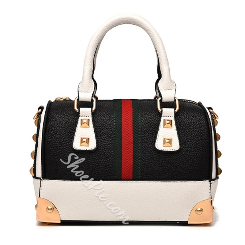 Shoespie Vogue Color Block Rivet Tote Bag