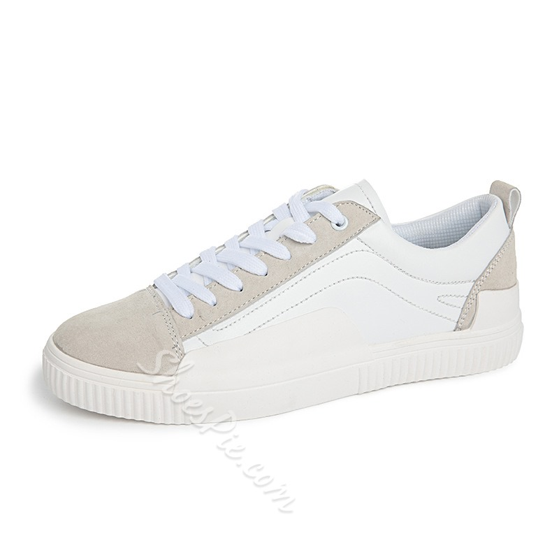 Shoespie Casual Color Block Skate Shoes Lace-Up Sneakers