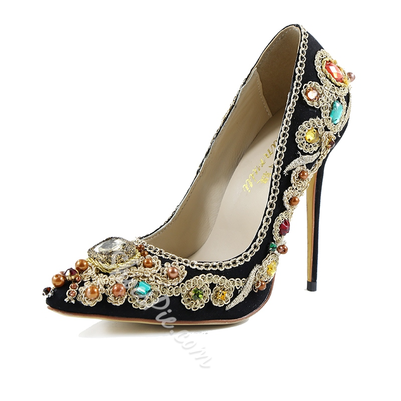 Shoespie Slip-On Pointed Toe Banquet Rhineston Beads Embroidery Stiletto Heel