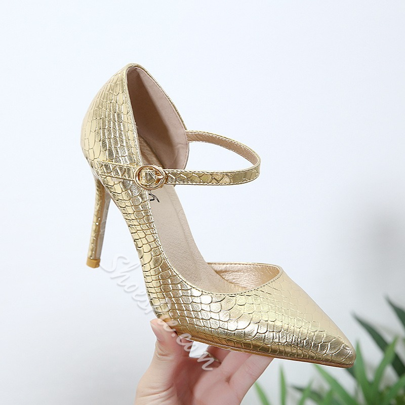 Shoepie Banquet Line-Style Buckle Pointed Toe Stiletto Heels