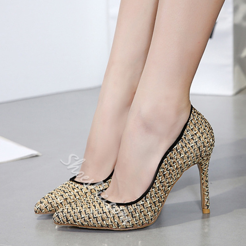 Shoespie Pointed Toe Slip-On Sequin Stiletto Heel