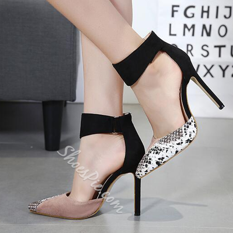 Shoespie Pointed Toe Patchwork Color Block Stiletto Heel