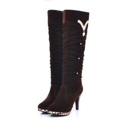 Shoespie Platform Slip-On Stiletto Heel Rhinestone Short Floss Knee High Boots