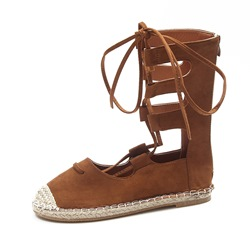 Shoespie Round Toe Boots Back Zip Cross Strap Sandal