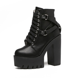 Shoespie Chunky Heel Side Zipper Cross Strap Platform Ankle Boots