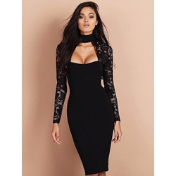 Shoespie Turtleneck Hollow Lace Long Sleeve Bodycon Dress