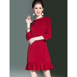 Shoespie Falbala Beads Three-Quarter Sleeve Bodycon Dress