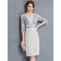 Floral Three-Quarter Sleeve Embroidery Bodycon Dress