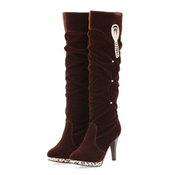 Shoespie Rhinestone Fringe Sequin Stiletto Heel Short FlossKnee High Boots