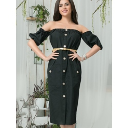 Shoespie Slash Neck Button Lantern Sleeve Bodycon Dress