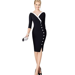 Shoespie Button V-Neck Three-Quarter Sleeve Bodycon Dress