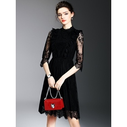Shoespie Lace Knee-Length Half Sleeve Bodycon Dress
