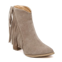 Shoespie Pointed Toe Chunky Heel Tassel Back Zip Short Floss Ankle Boot