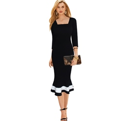 ShoespieSquare Neck Falbala Three-Quarter Sleeve Bodycon Dress