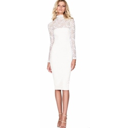 Hollow Lace Turtleneck Bodycon Dresses