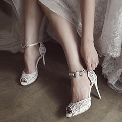 Sexy Stiletto Heel Line-Style Buckle Peep Toe Wedding Bridal Shoes