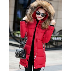 Faux Fur Slim Zipper Mid-Length Women's Cotton Padded Jacket