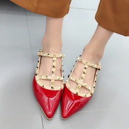Shoespie Rivet Buckle Pointed Toe Comfort Flat