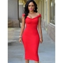 Shoespie Backless Cap Sleeve V-Neck Bodycon Dress