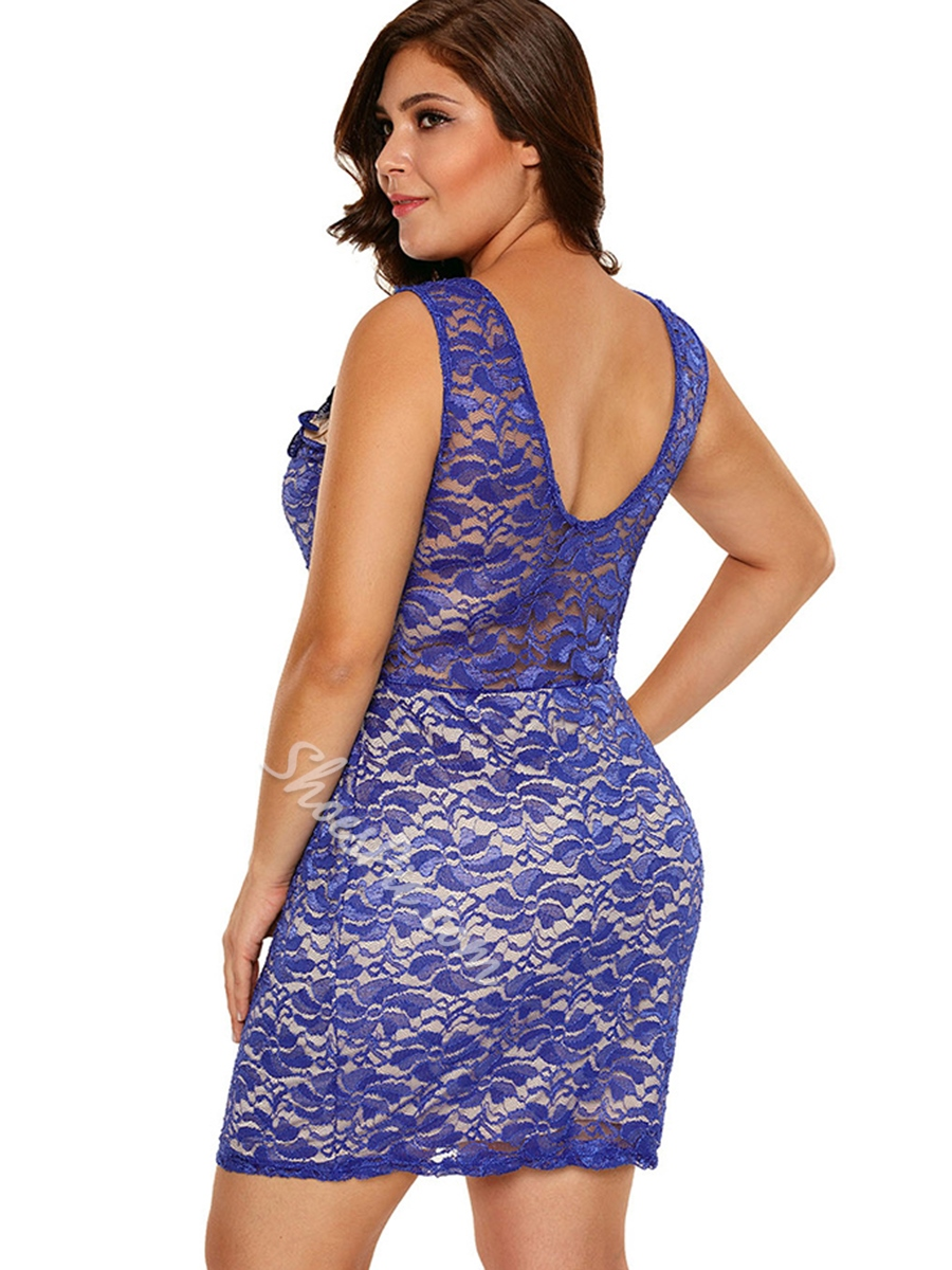 Hollow Backless See-Through Embroidery Lace Bodycon Dress